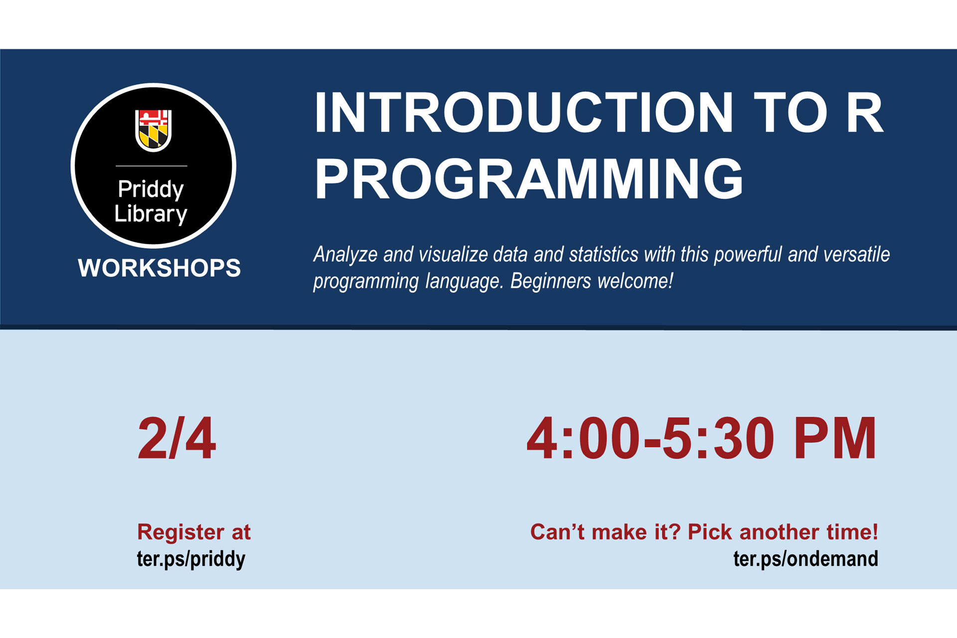 Intro to R Programming Workshop Flyer