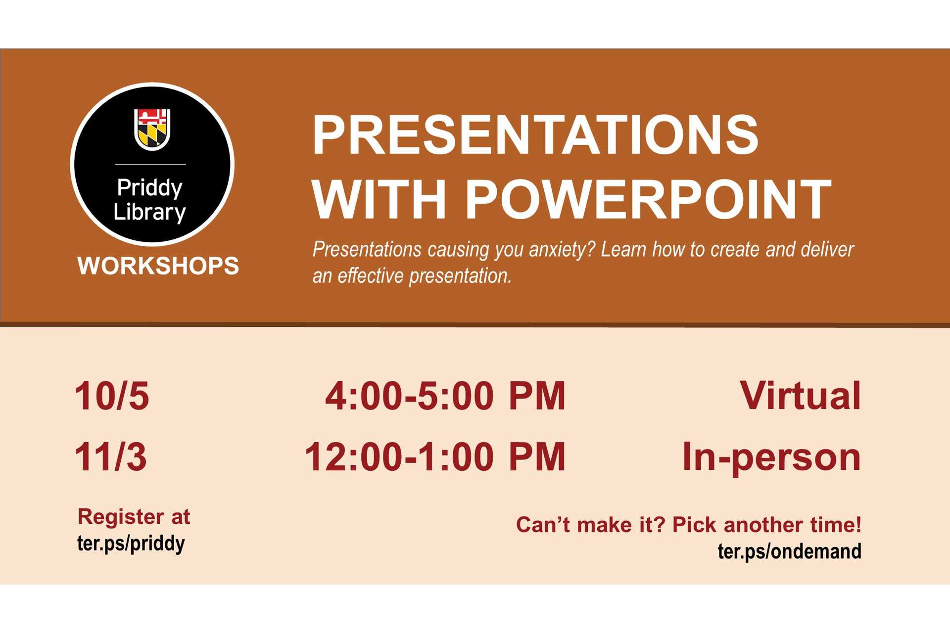 Presentations with PowerPoint workshop flyer