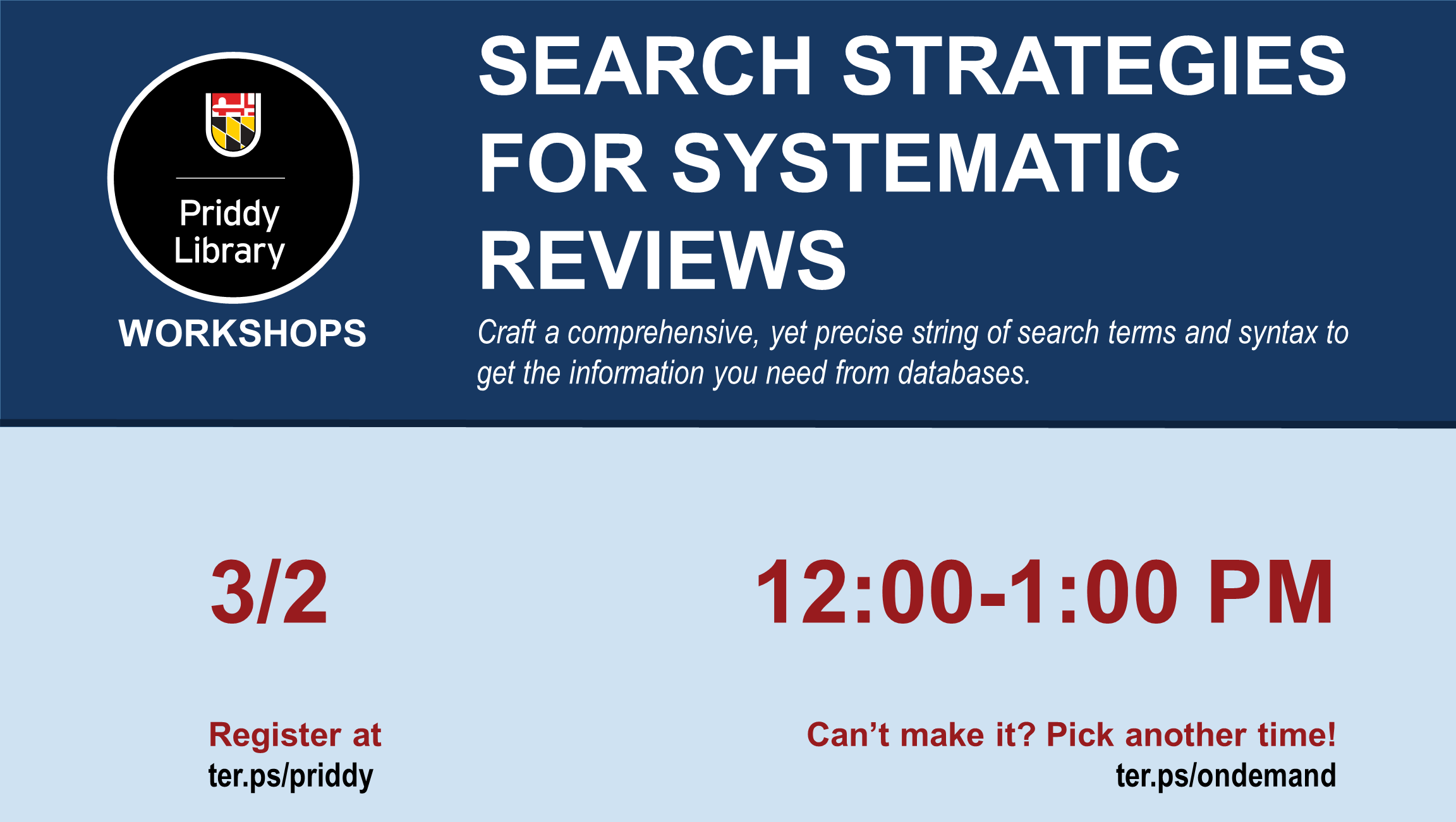 Search Strategies for Systematic Reviews Flyer