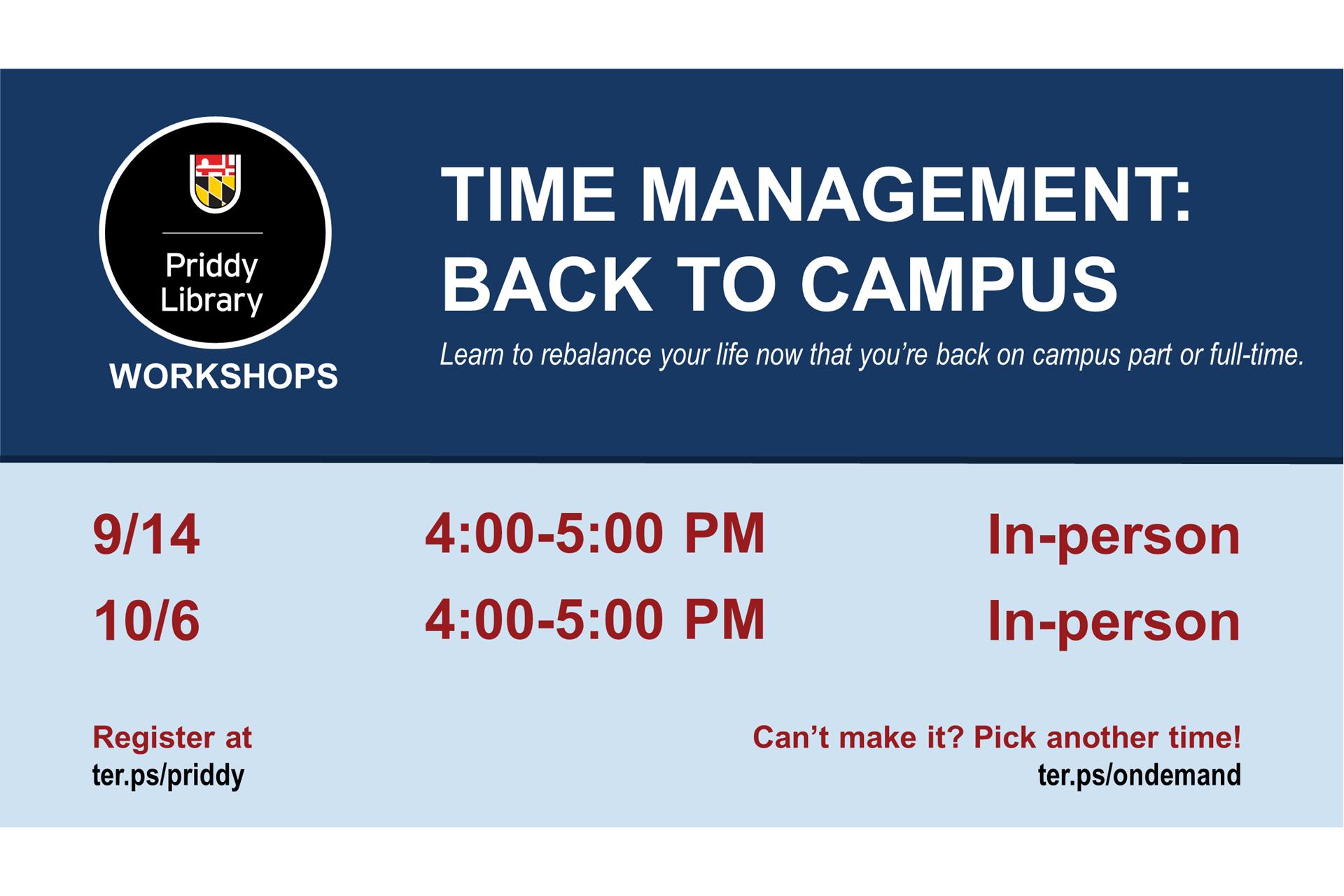 Time Management: Back to Campus workshop flyer