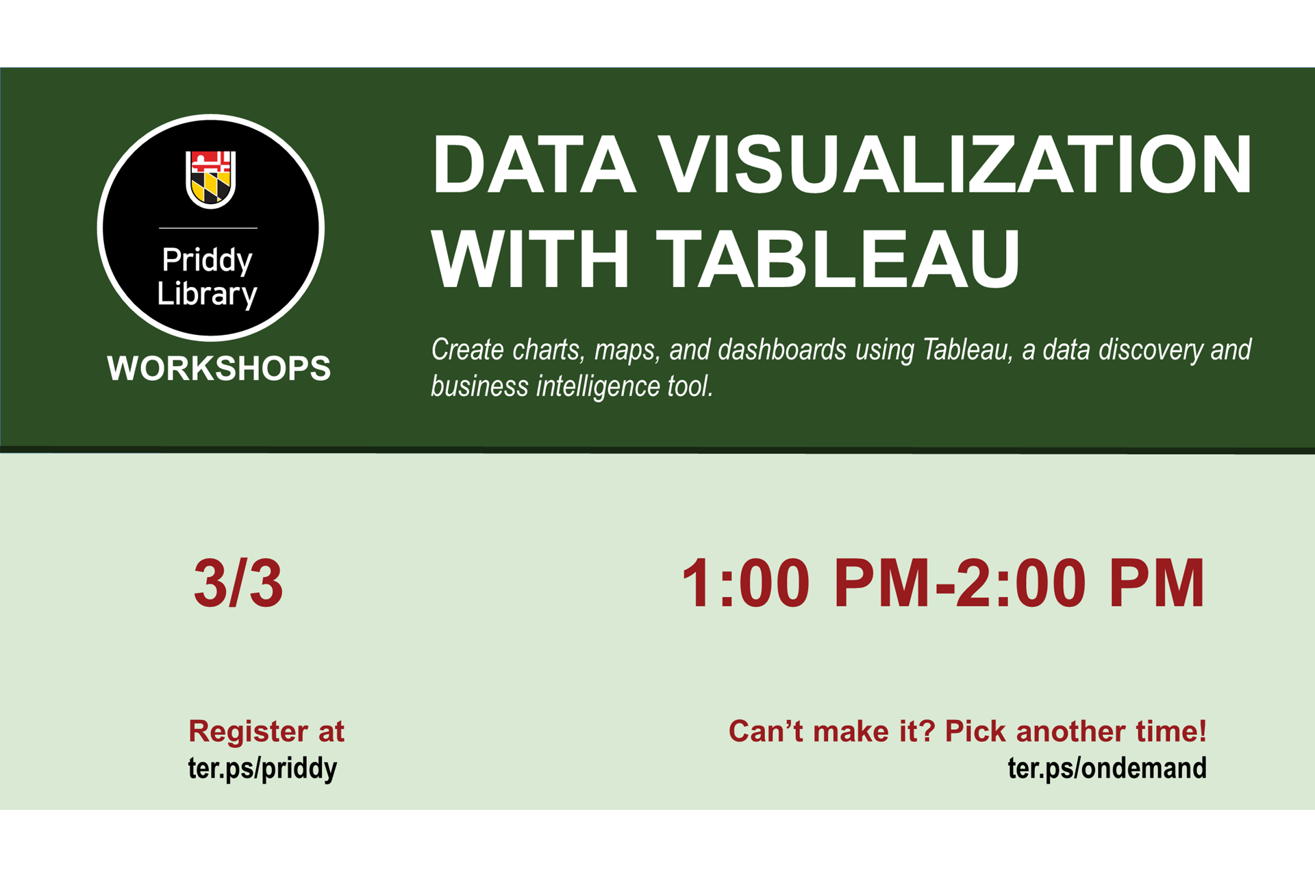 Data visualization with Tableau workshop flyer