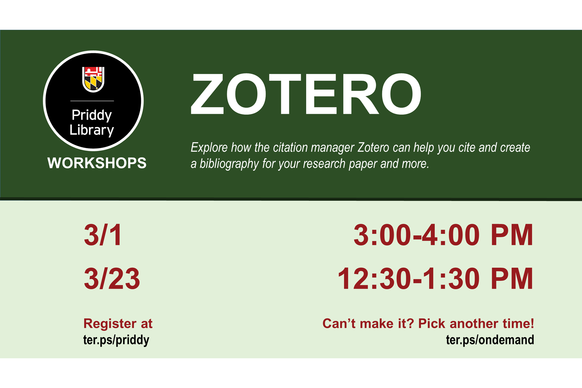 Zotero workshop flyer