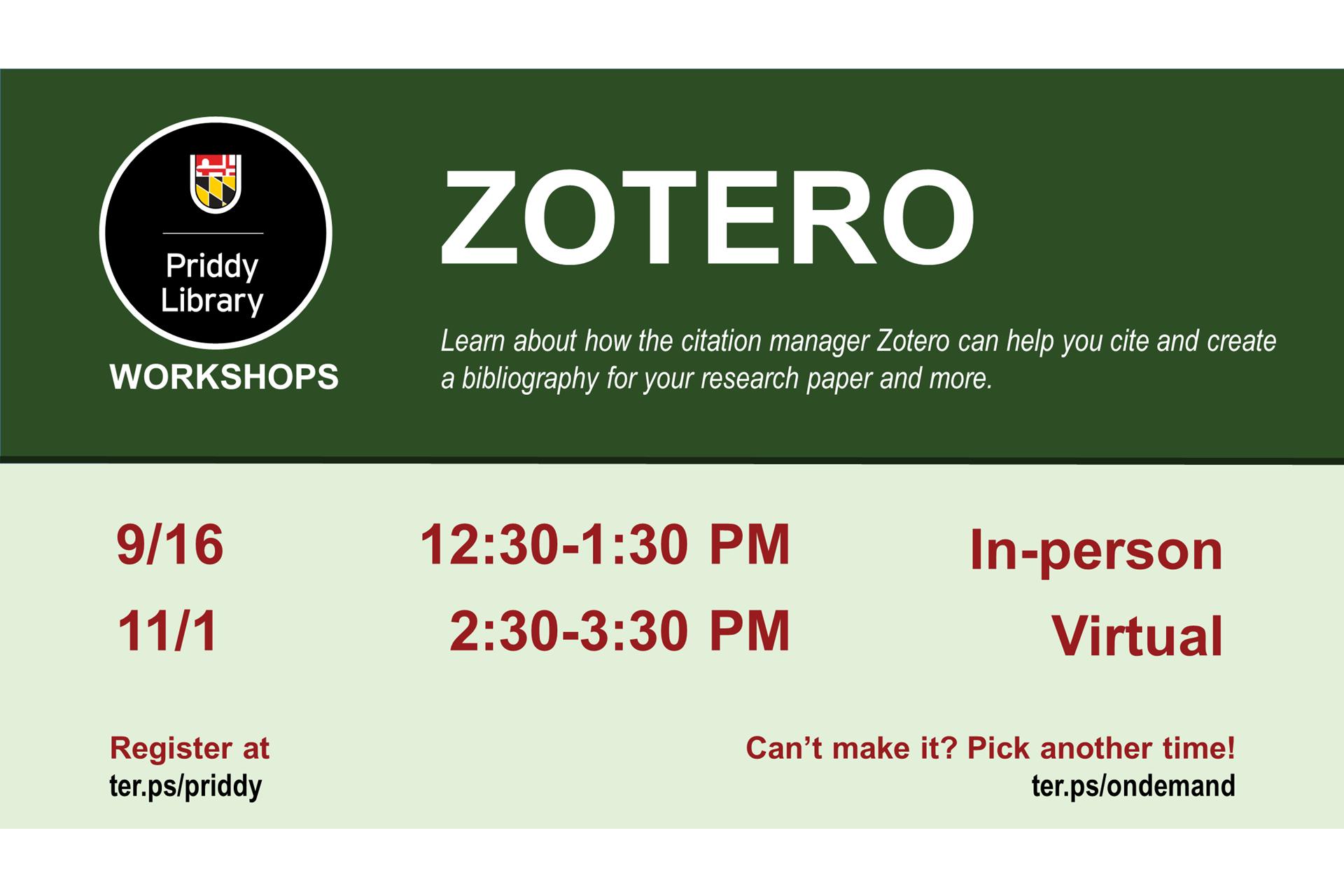 Zotero workshop flyer