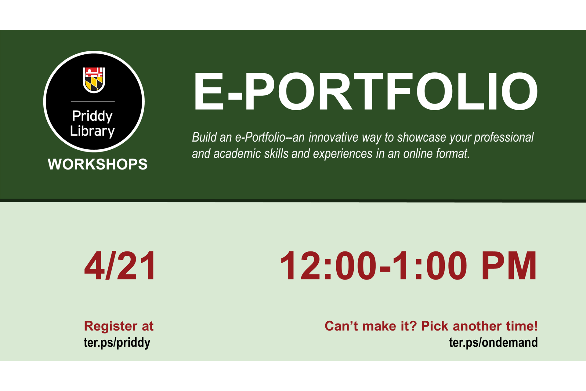 e-Portfolio workshop flyer