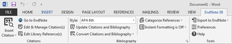 Endnote x8 toolbar in Word