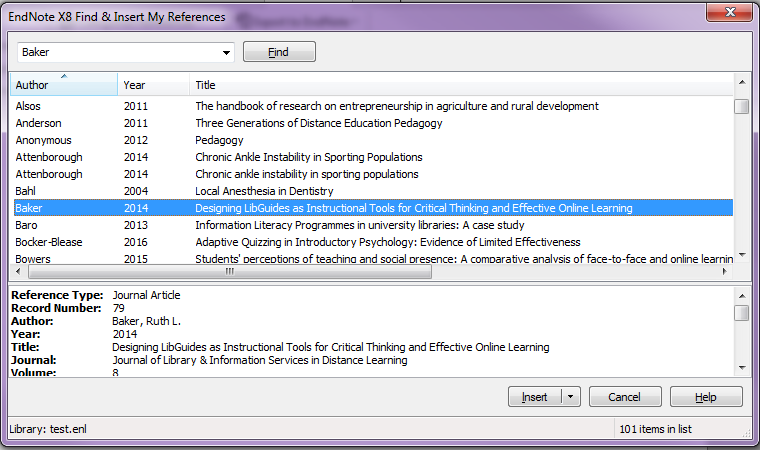 ENdnote x8 insert citation in Word