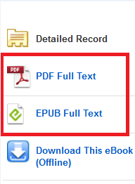 EBSCO ebooks book homescreen links to full text