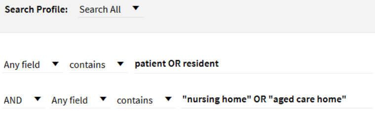 In Primo Search, if you want to search for either patient or resident, as well as either nursing home or aged care home, then you can use Advanced Search and have patient or resident in the first line of search, and nursing home or aged care home in the second line of search