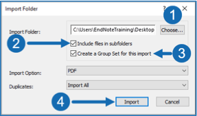 Import folder dialogue box