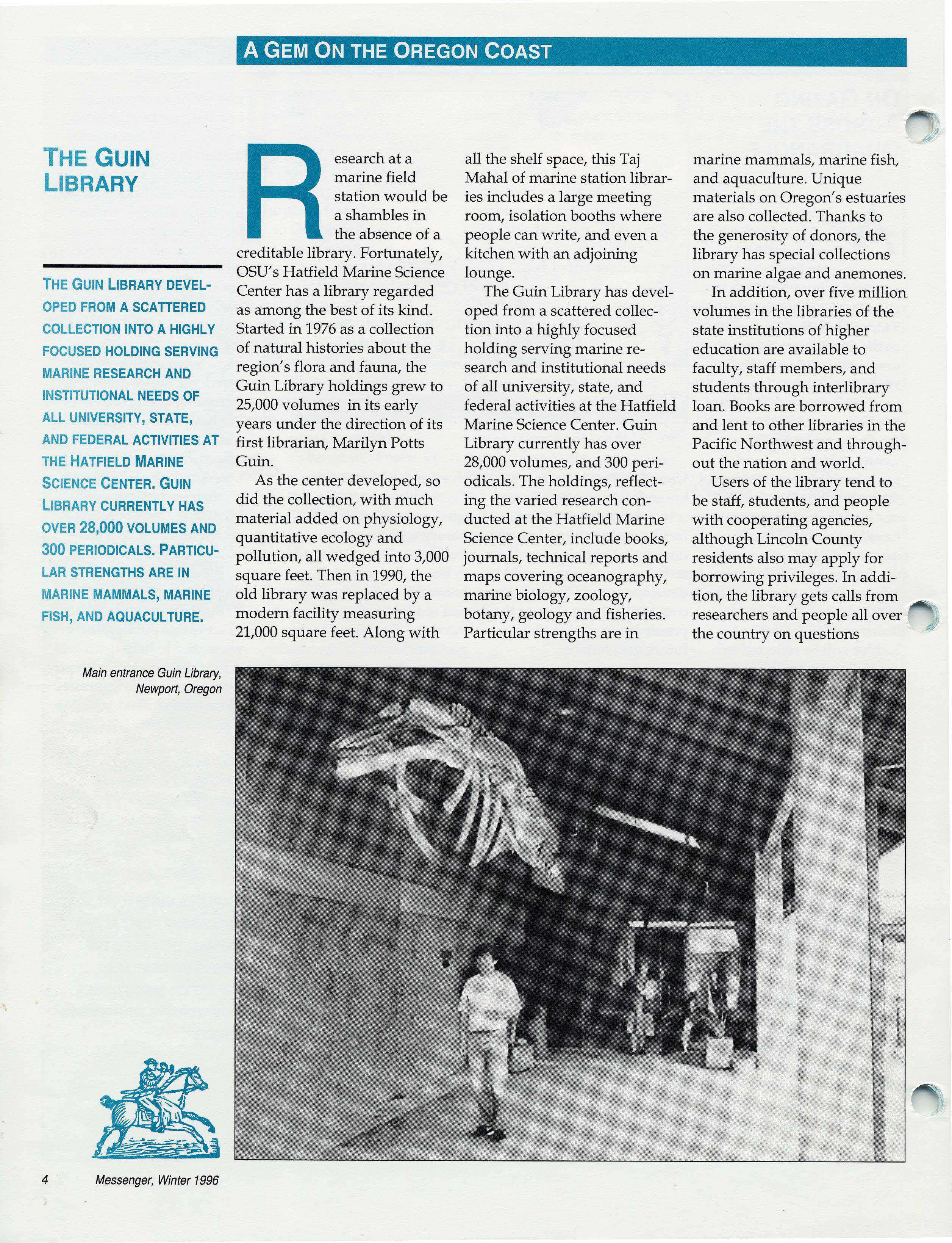 A Gem on the Oregon Coast: The Guin Library (The Messenger, Winter 1996; Vol. 11, No. 1)
