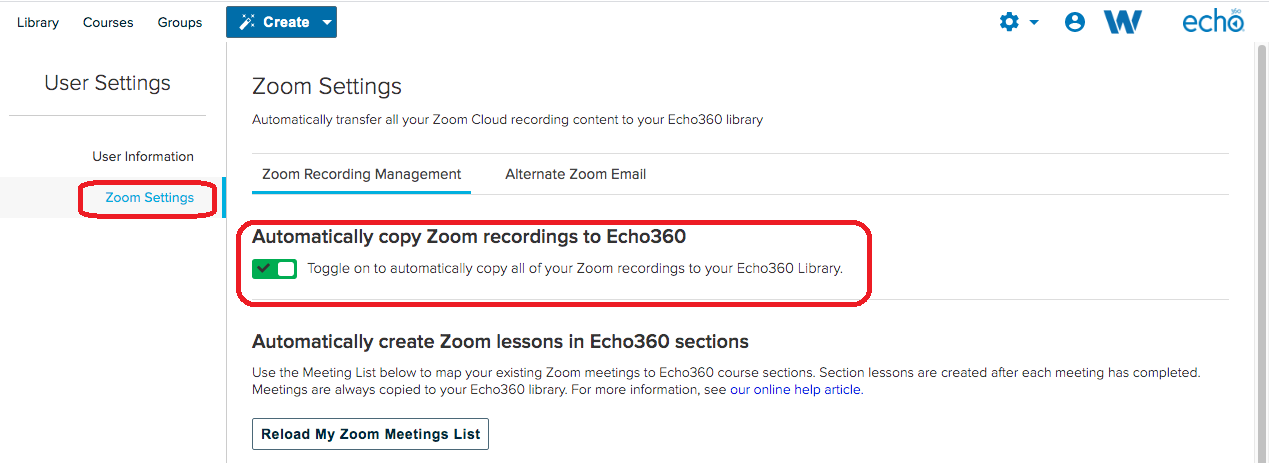 checkbox to link zoom and echo360