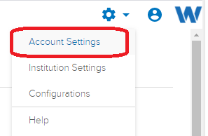 account settings dropdown menu