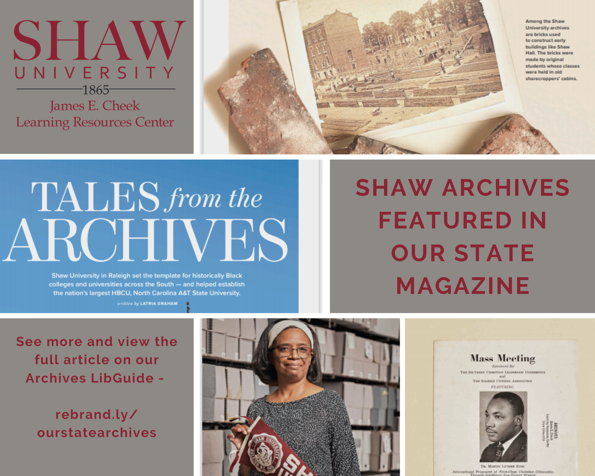 Promotional flyer for Our State Magazine, featuring woman with shaw banner standing in front of  archive boxes, and old medicine bottles in front of various texts