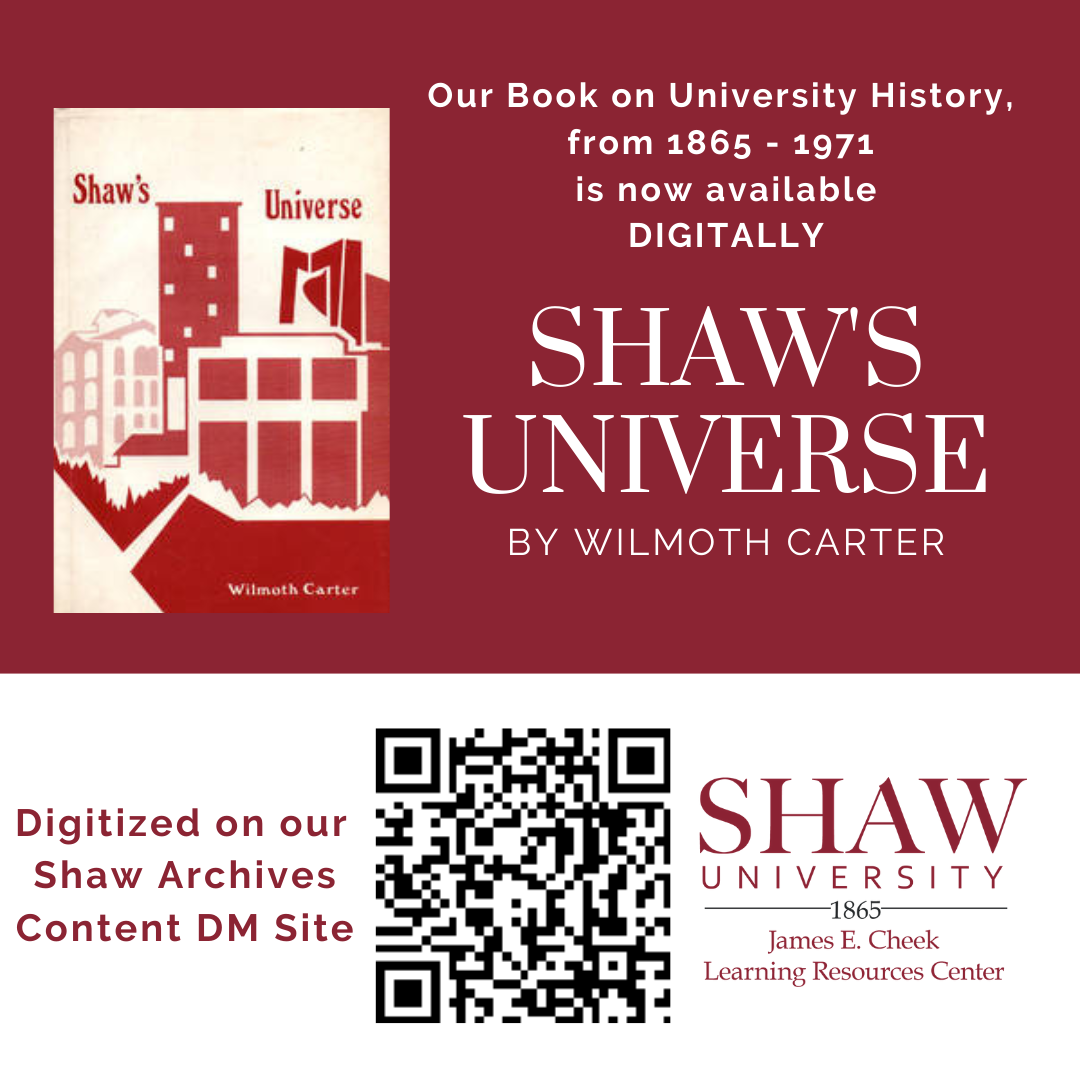 Shaw's Universe book cover, featuring Shaw University's Estey Hall