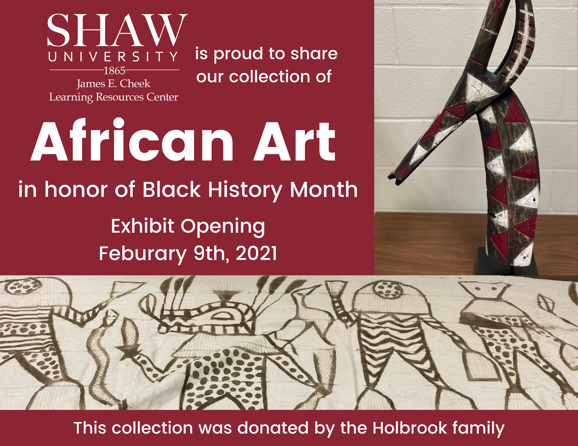 Antelope headdress and african tribal designed cloth on a flyer with a notification of an African Art display at the library