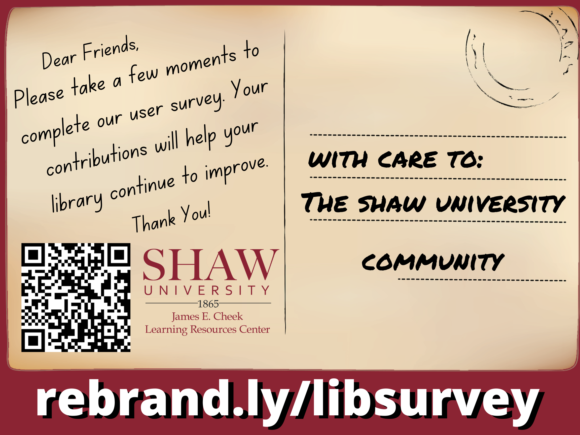 Tan postcard flyer with request for filling out the library user survey