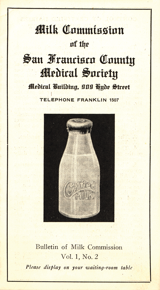 1924 bulletin of the Milk Commission in San Francisco