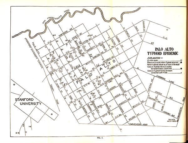 Map of Palo Alto during the Typhoid Epidemic