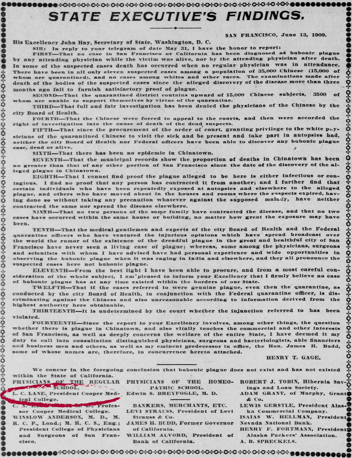 Newspaper snippet of California Governor Henry Gage's proclamation