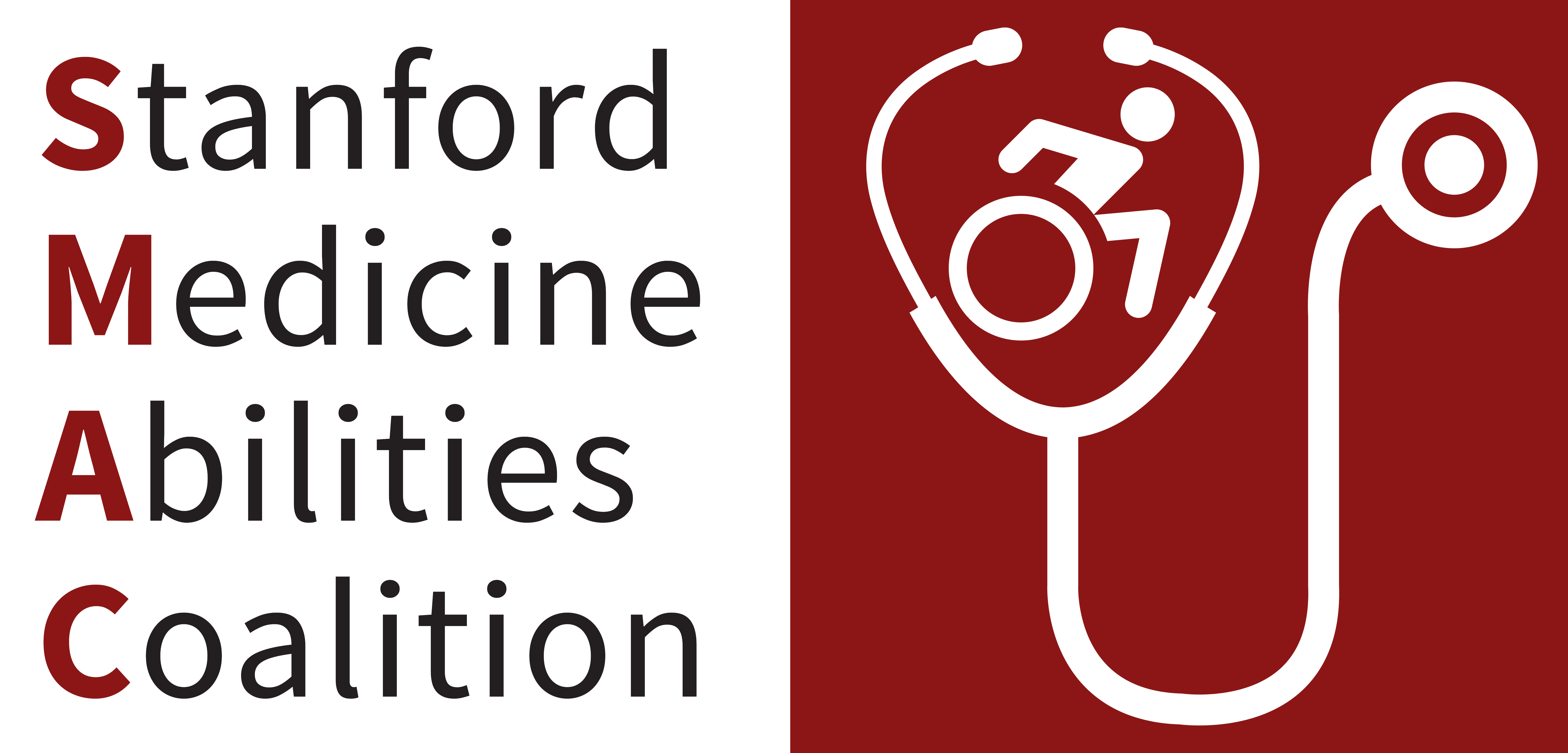 Text 'Stanford Medicine Abilities Coalition' besides a graphic of a stethoscope with a graphic of a person moving forward in a wheelchair above it
