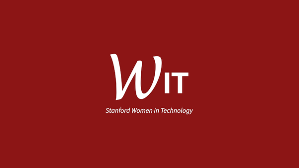 Text WIT Stanford Women in Technology on a cardinal red background