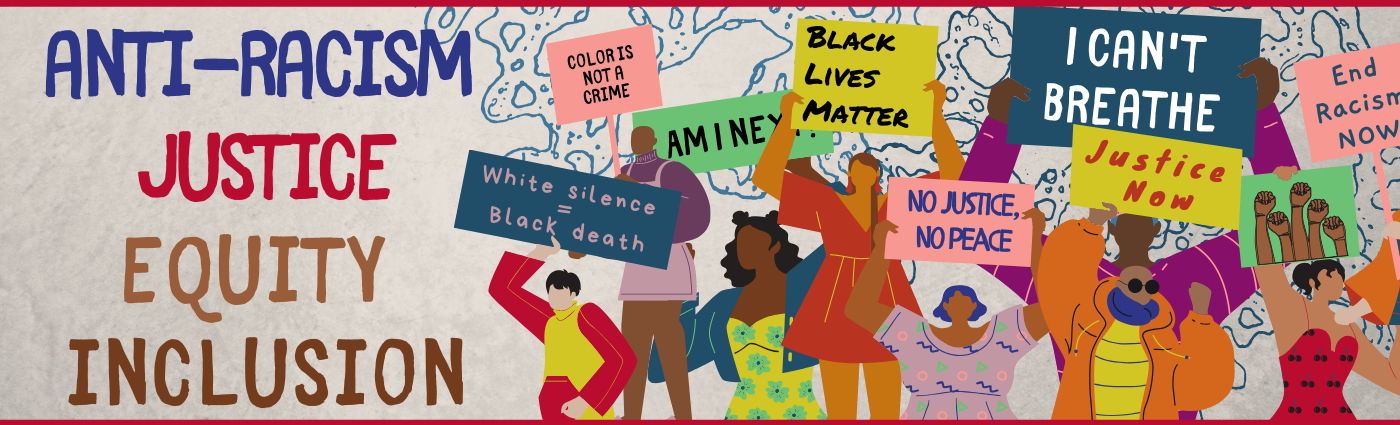 Image of an illustrated protest that serves as a link to the Gateway Anti-Racism, Justice, Equity and Inclusion libguide