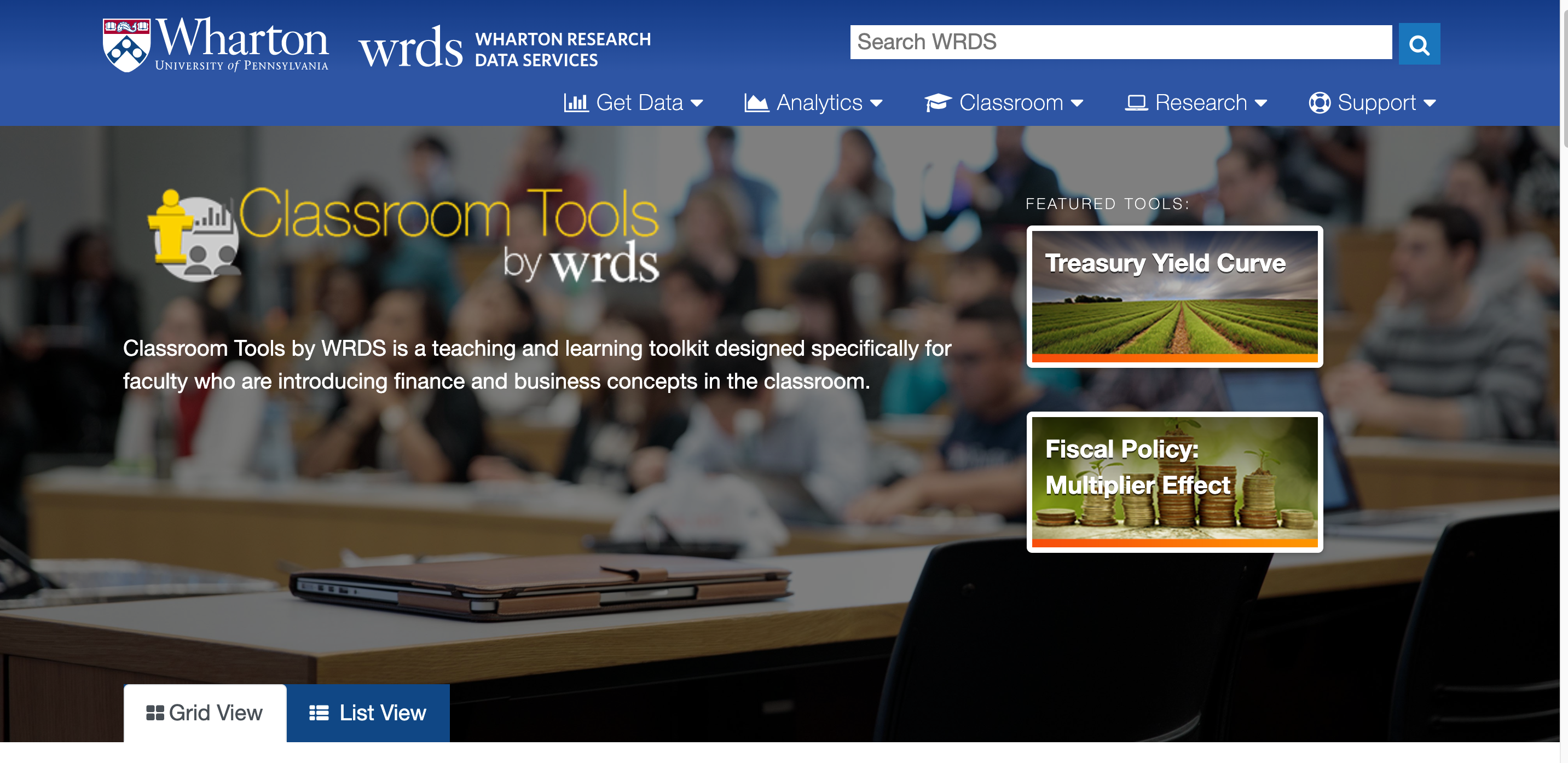 Classroom Tools by WRDS is a teaching and learning toolkit designed specifically for faculty who are introducing finance and business concepts in the classroom.