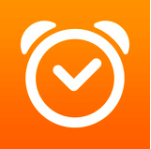 Orange background with a white clock.