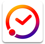 Orange and purple clock on a white background.