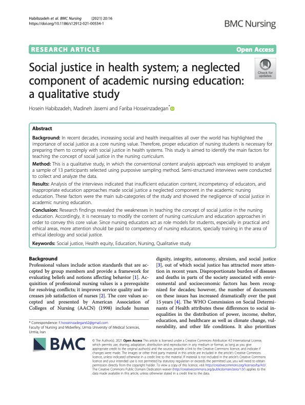 Screenshot of academic article (specifically, academic research article) about social justice in health system