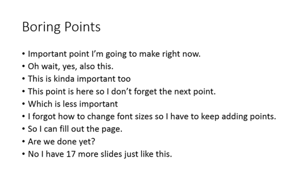 Slide with a list of boring points that go on and on