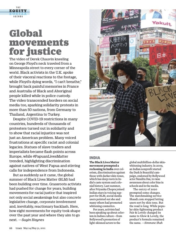 Screenshot of popular magazine article about social justice