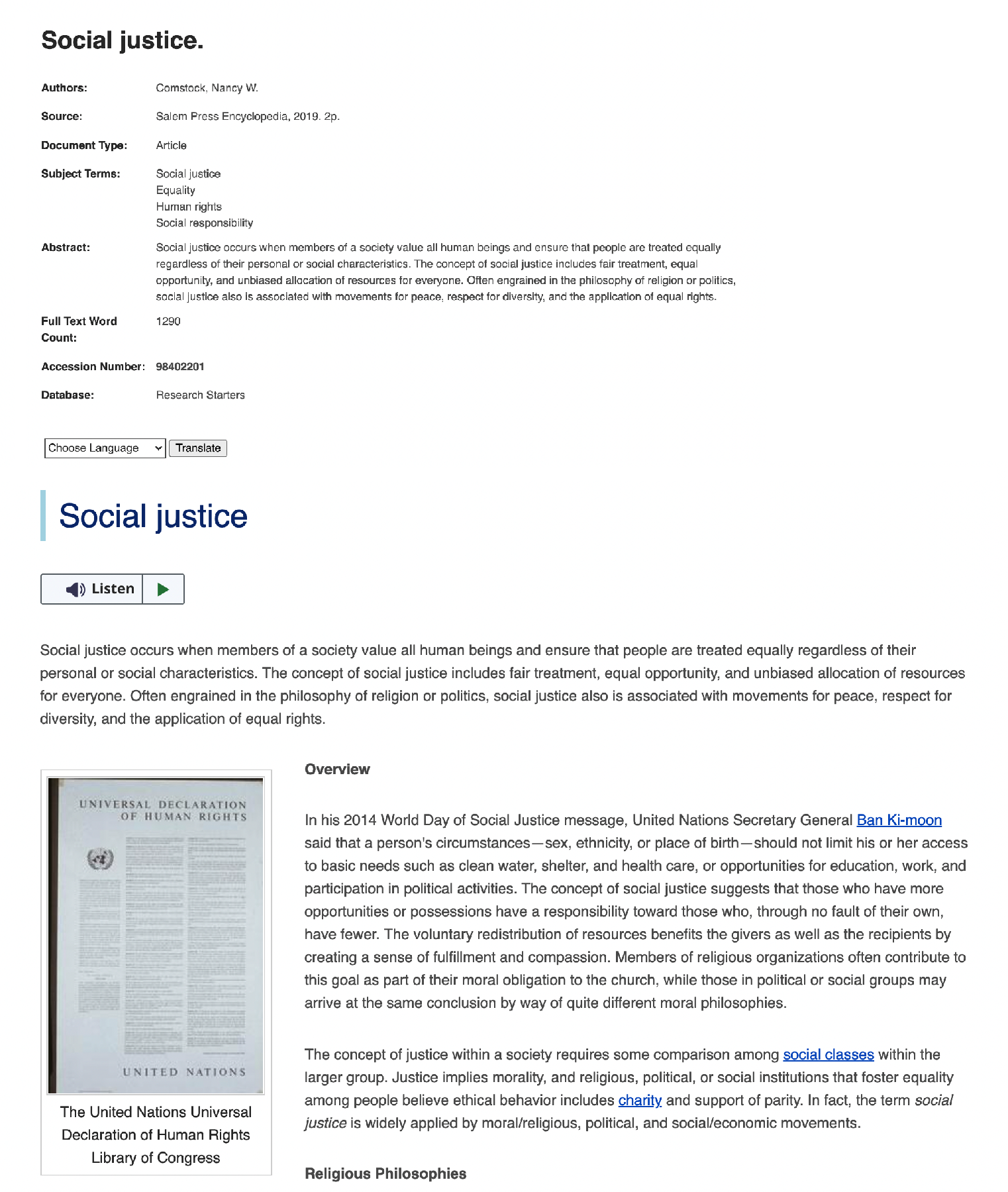 Screenshot of reference entry for social justice