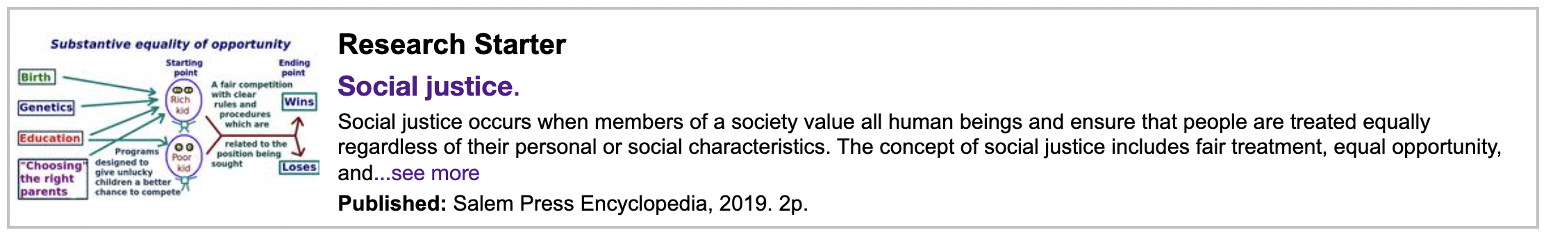 """Screenshot of """"Research Starter"""" reference example for social justice in the library catalog"""