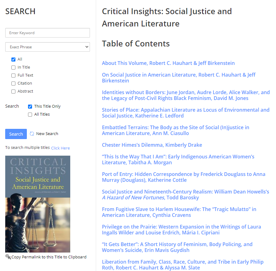 Screenshot of ebook about social justice
