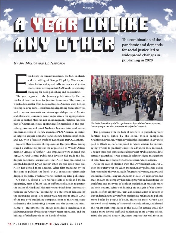 Screenshot of trade publication article on social justice