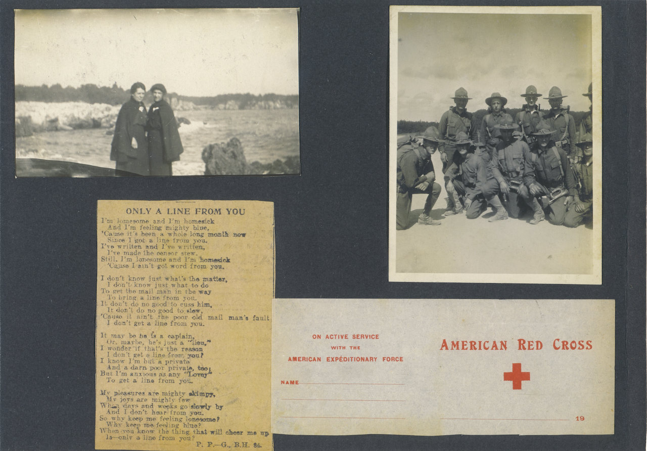 Scrapbook of Leila Anderson including two black and white group photos of people in uniform, the American Red Cross insignia and a wartime poem
