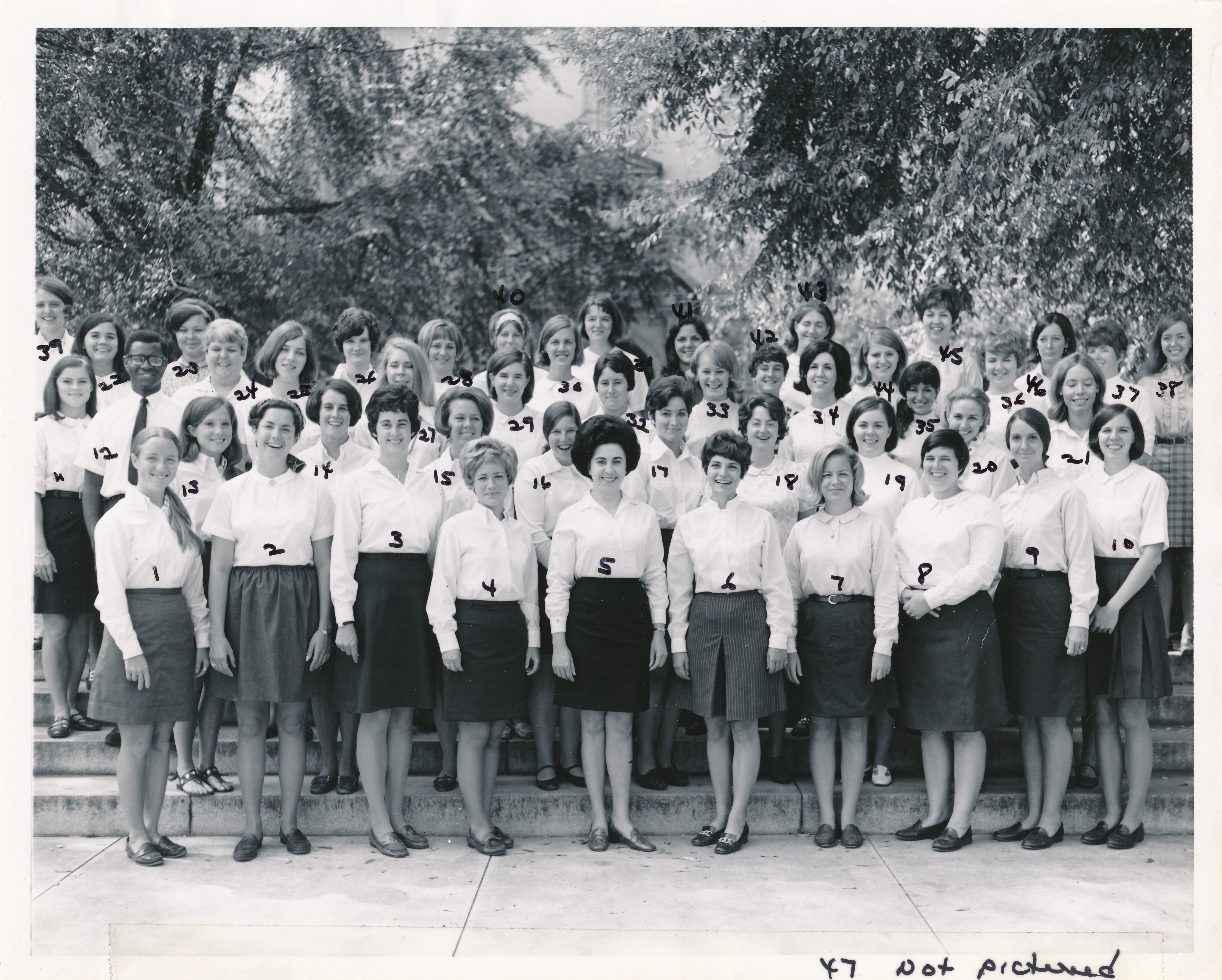 1972 Class photo of Nursing student graduates including one African American male student named Bob Isom.