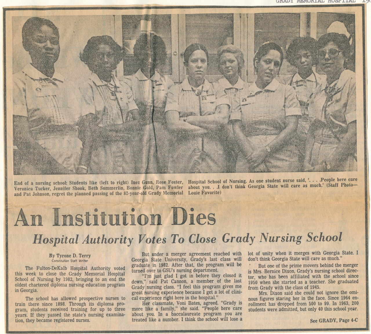 Image of Black and white nursing students in scrubs with the newspaper headline title An Institution Dies, in reference to the end of the Grady hospital nursing program