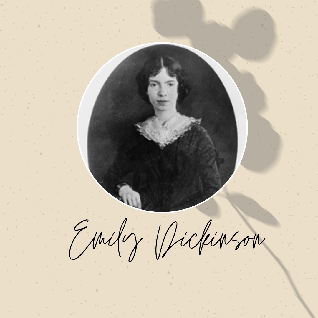 Emily Dickinson portrait graphic with name in cursive writing