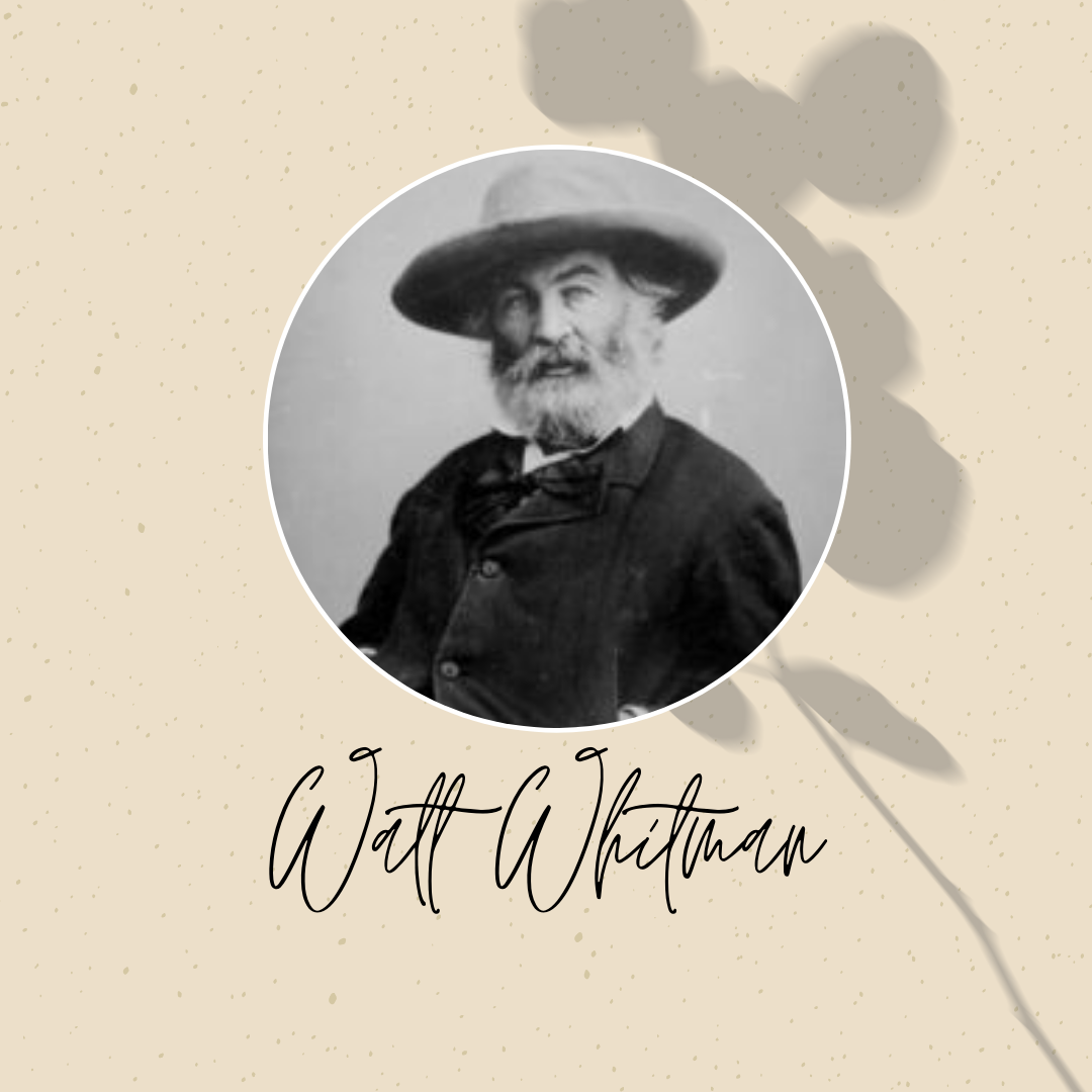 Walt Whitman portrait graphic with his name in cursive writing