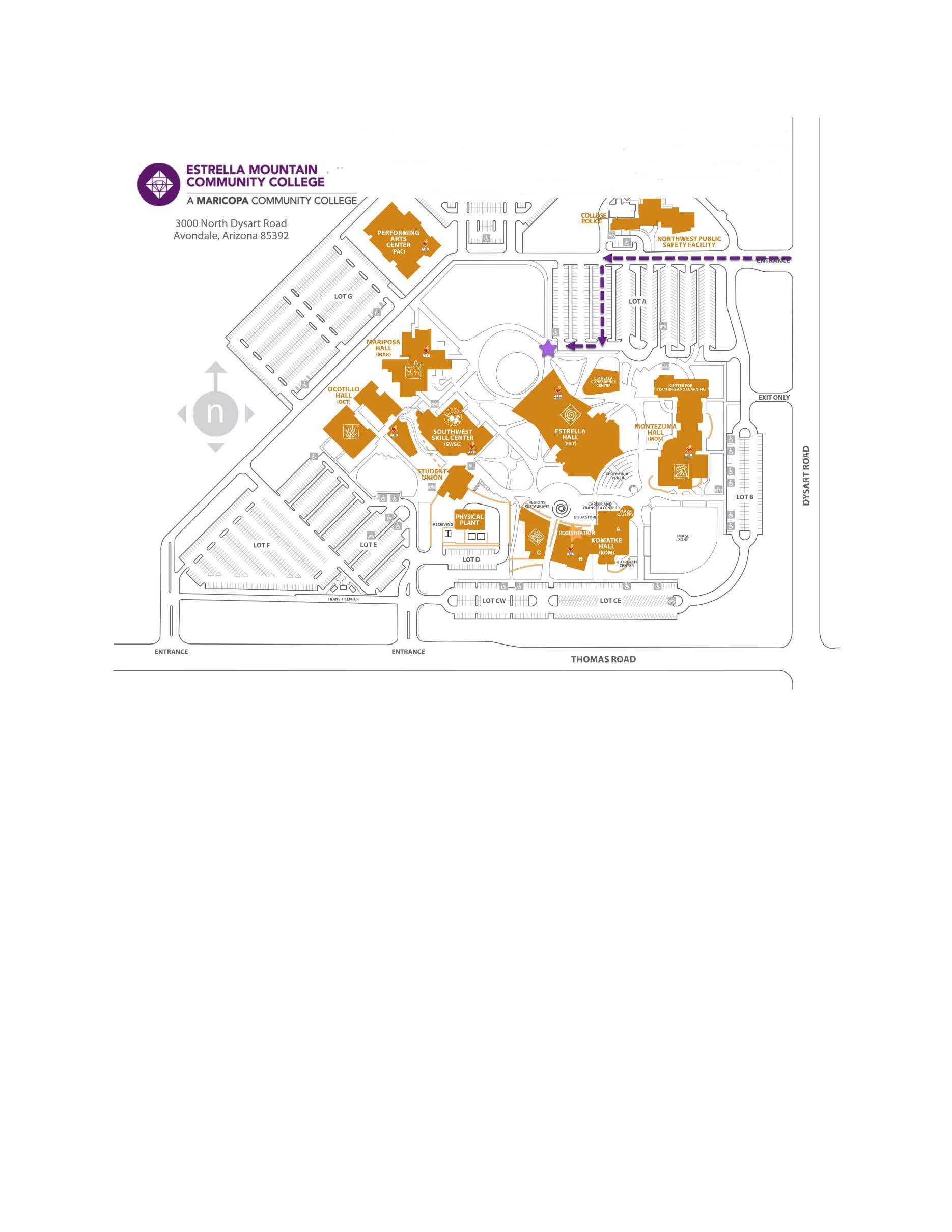 College map showing a path from the entrance at Dysart to the library book drop located near the northeast corner of Estrella Hall.