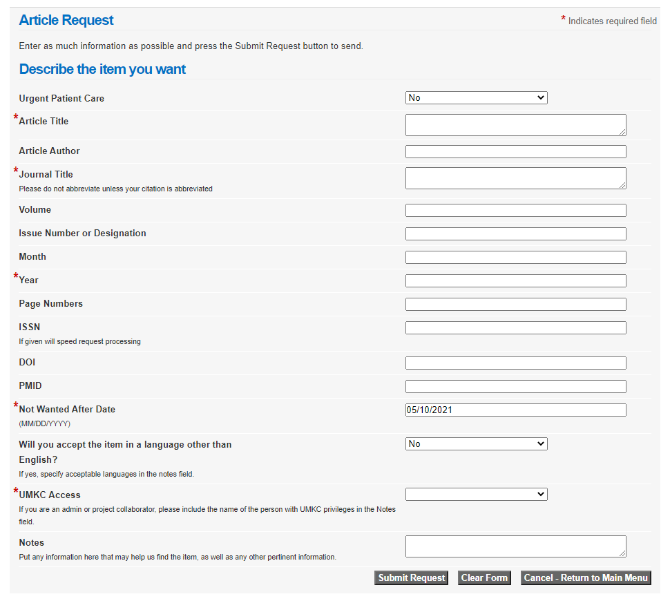 blank Illiad article request form