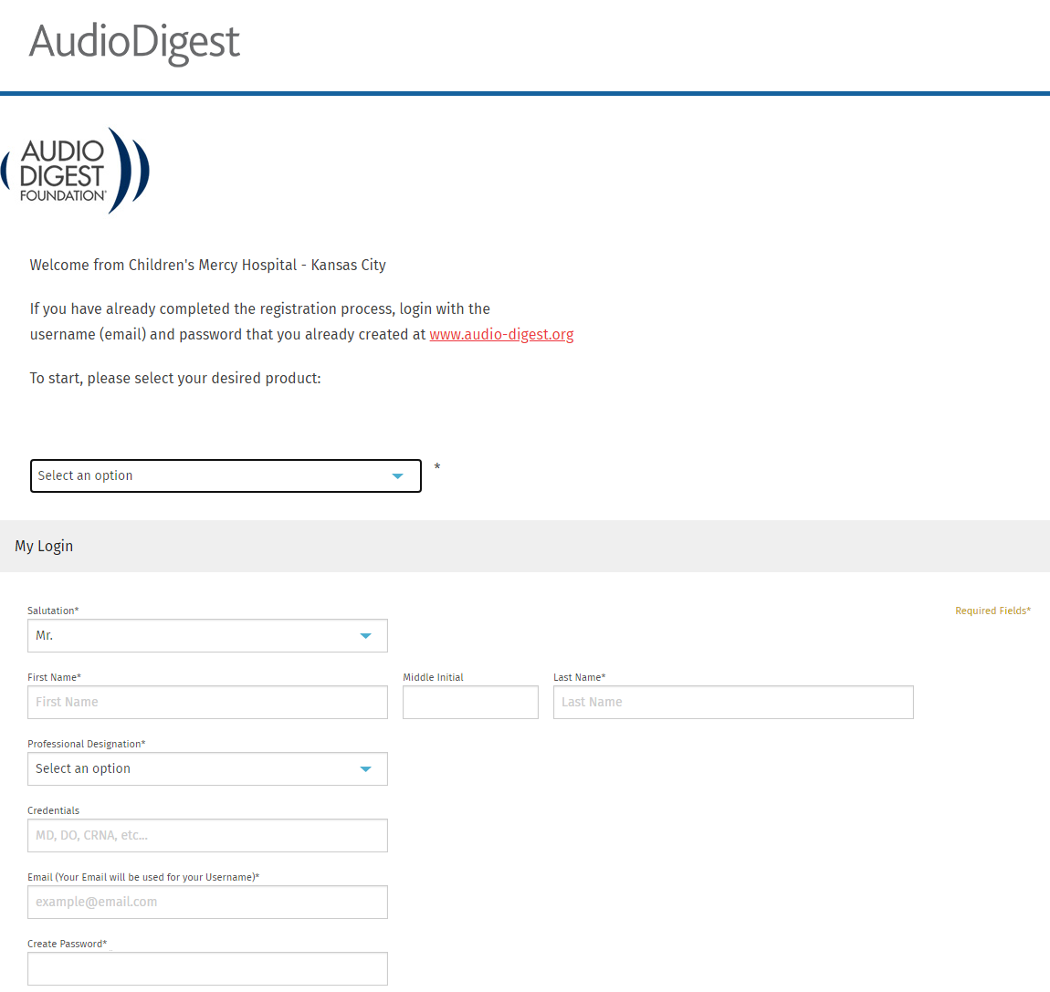 Audio Digest registration screen