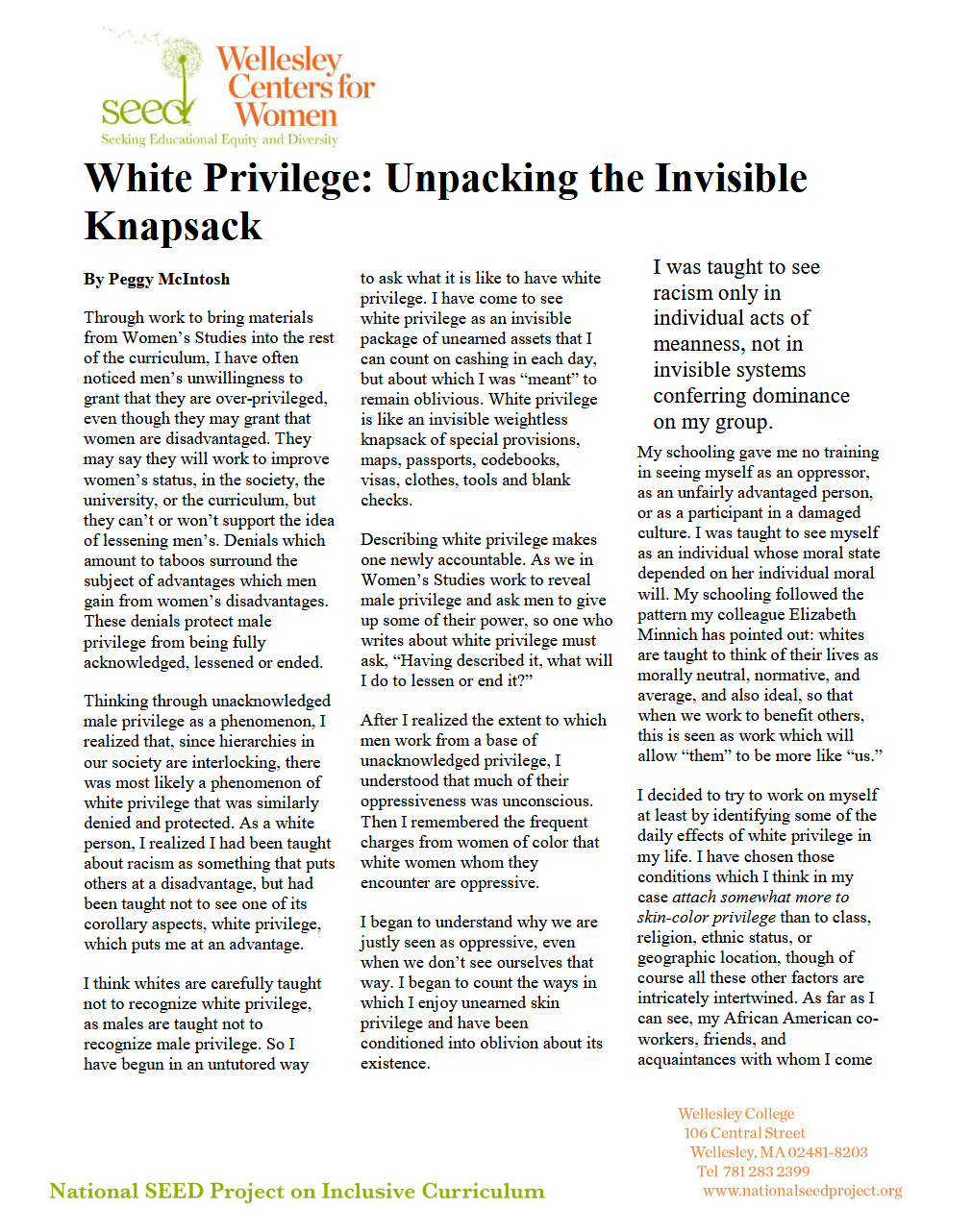 Article White Privilege: Unpacking the invisible knapsack