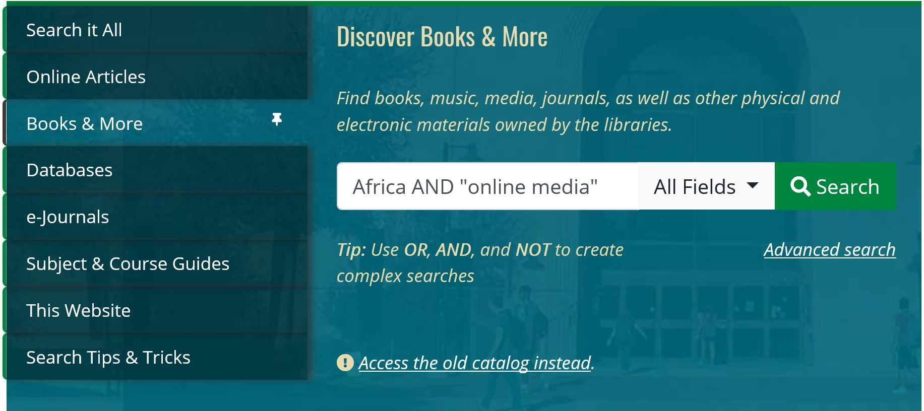 UNT Library Books & More search bar, quick and basic online media search