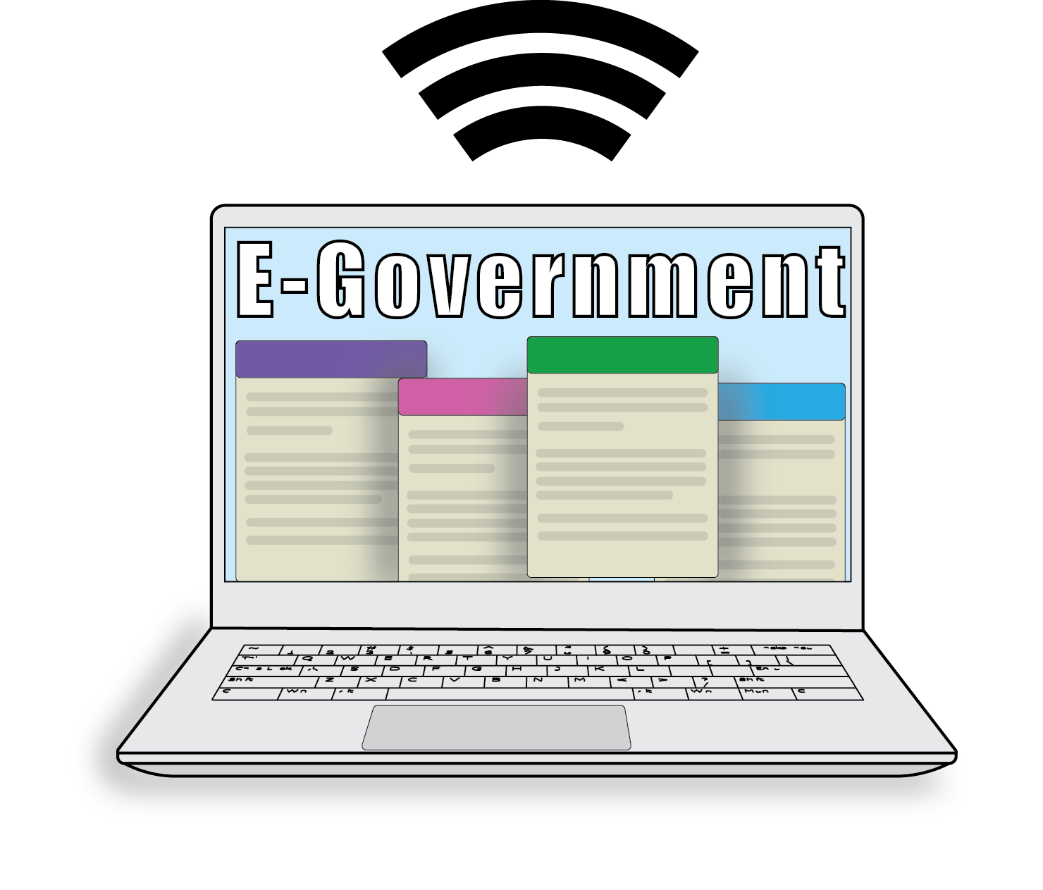 E-Government symbolized by laptop with documents and wi-fi symbol