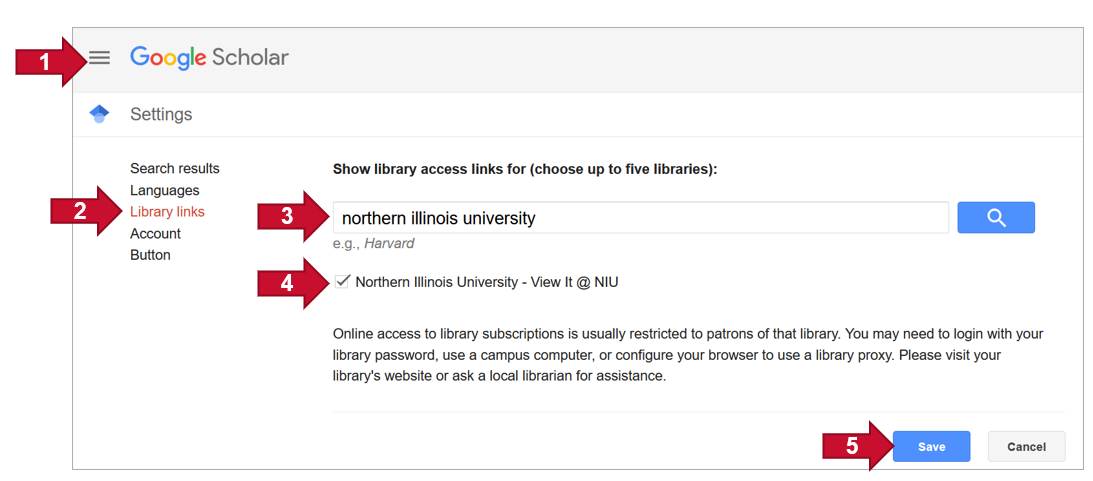 Google Scholar Settings with arrows pointing where to click to setup full text links. Use instructions below.