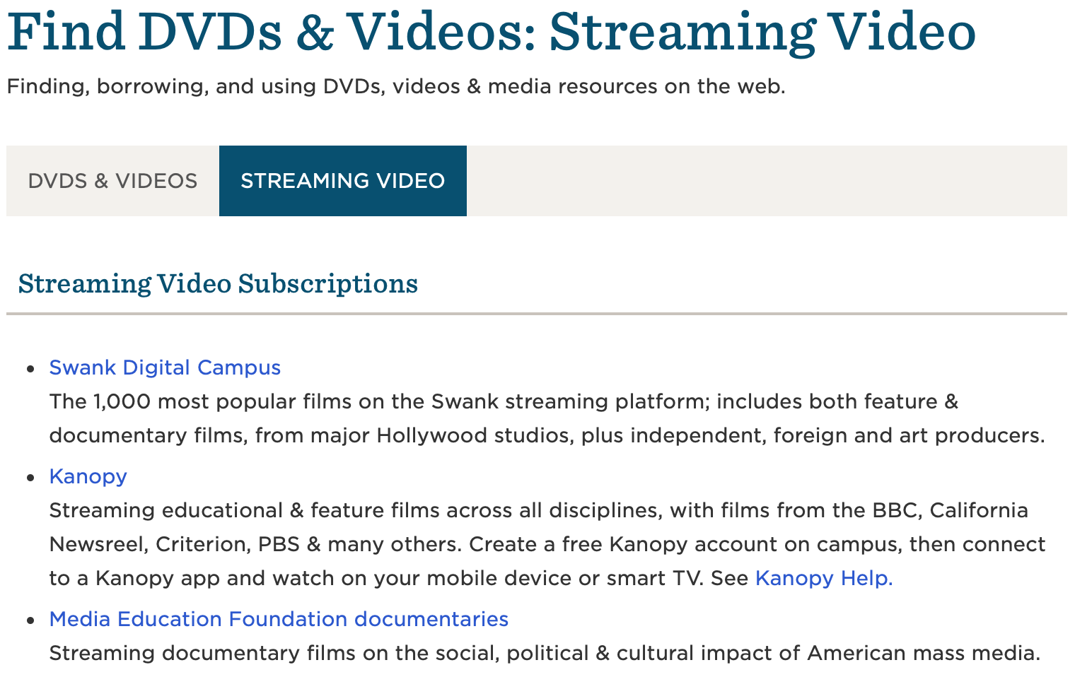 Screenshot of the Streaming Video library guide