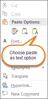 Paste the text